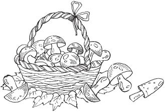 корзина с грибами раскраска картинки ягоды