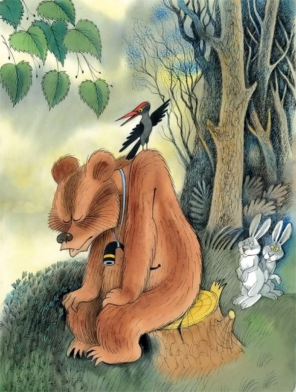 крыше картинки к сказке заяц и медведь печь